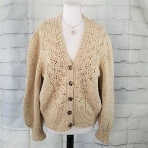 Vintage Natural Beige Hand Knit Cardigan Sweater